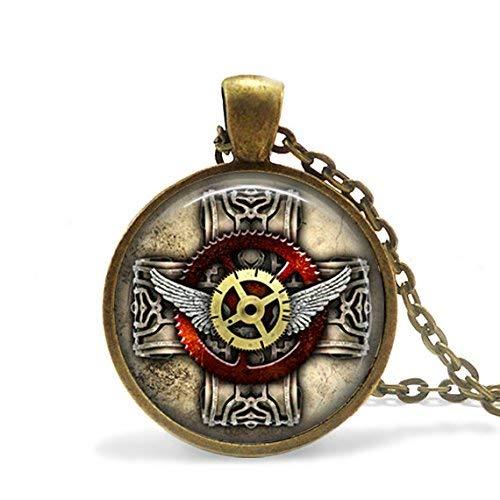 Steampunk kruis ketting, gotische kruis Steampunk sieraden, antieke tandwielen Sherlock Holmes glas hanger, gotische engel vleugels ketting hanger