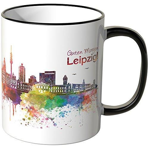 WANDKINGS® Tasse, Schriftzug Guten Morgen Leipzig! mit Skyline - SCHWARZ
