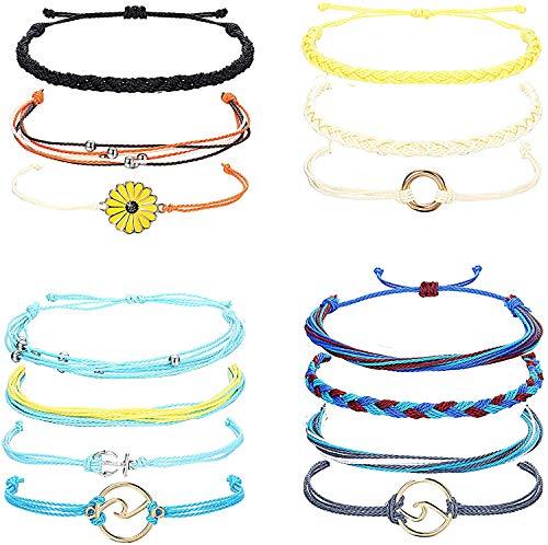 LOLIAS 14Pieces Woven Bracelet for Women Girls Braided Rope Handmade Bracelet Set Wave Strand Summer Beach Sunflower Bracelet Boho Friendship Bracelet Adjustable Jewelry
