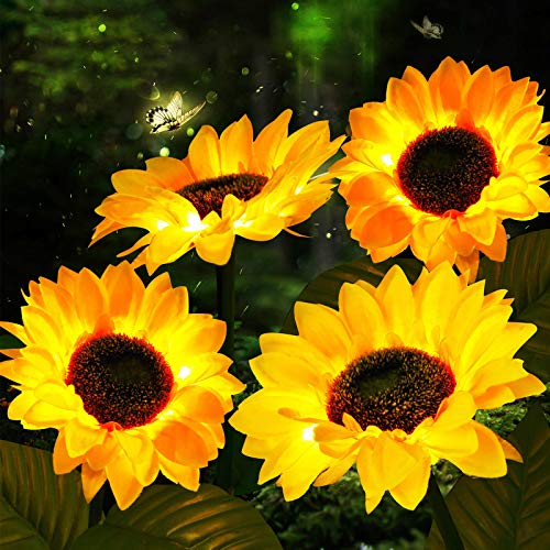 Outdoor Solar Sunflower Lights Solar Garden Stake Lights Sunflower Solar Powered LED Decorative Light for Garden Patio Lawn Yard Porch Walkway Decoration (4)