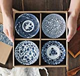 Mose China ~ Set of 4, Japanese Style Ceramic Rice Bowl Assorted Designs Traditional Blue and White Pattern Underglazed Dinnerware Ideal For Dessert Snack Cereal Soup in Gift Box