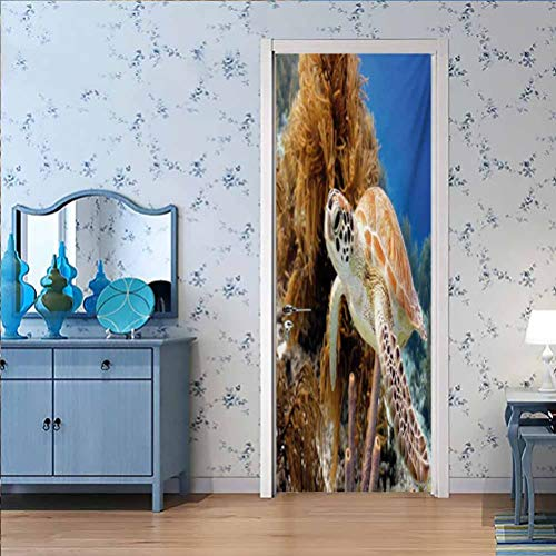 Home Decor 3D Self Adhesive Door Sticker, Turtle Coral Reef and Sea Turtle Close Up Photo Bonair, Peel and Stick Removable Door Decal for Home Decorative, W35.4 x L78.7 Inch