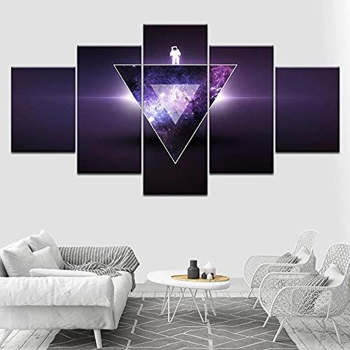 Cuadro En Lienzo,Imagen Impresión,Pintura Decoración Paisaje Abstracto Astronauta Cuadro Moderno En Lienzo 5 Piezas,Murales Pared Hogar Decor XXL 150x80cm(60x32inch)