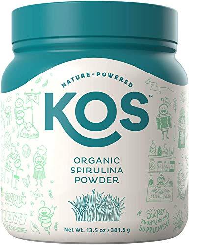 KOS Organic Spirulina Powder - Pure Non-Irradiated Blue-Green Spirulina Powder - USDA Organic Immunity Enhancing Plant Based Superfood, 381g, 109 Servings