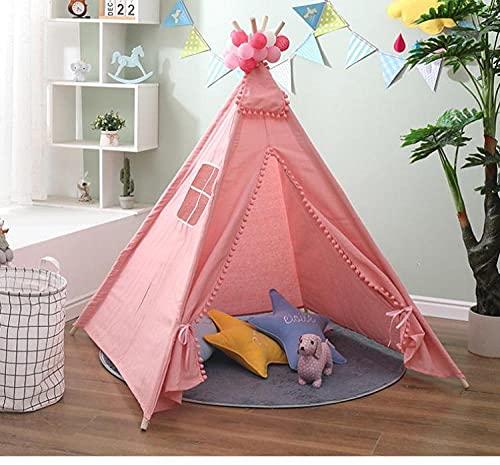 Fnho Bambini Teepee per Ragazzi,Tenda Teepee Portatile con Finestra,Casetta da Gioco per Bambini, Tenda Indiana-Rosa_1.35M