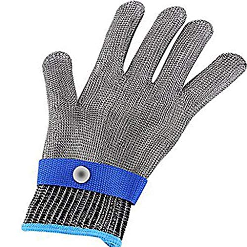 Pamura - SCHNITT-FIT - Schnittschutz Handschuhe - Schnittschutzhandschuhe Edelstahl - Metzgerhandschuh - Küche - Handwerker - Cosplay - Blau L