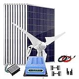 Kit de carga de batería solar de 1400 W, 12 V: generador de turbina de viento de 400 W + 10 paneles solares policristalinos de 100 W + controlador MPPT + cable + conectores