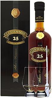 Ron Centenario 25 Jahre Gran Reserva Premium Rum Costa Rica 0,7 Liter  2 Glencairn Gläser  Einwegpipette 1 Stück