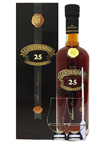 Ron Centenario 25 Jahre Gran Reserva Premium Rum Costa Rica 0,7 Liter + 2 Glencairn Gläser + Einwegpipette 1 Stück