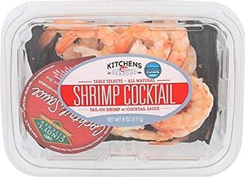 Kitchen's Seafood, Shrimp Cocktail Tail-On Shrimp w/ Cocktail Sauce, 6 oz (Frozen)