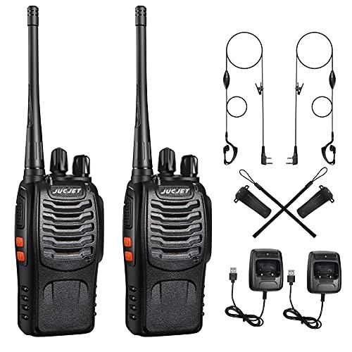 Walkie Talkies, Lizenzfrei PMR446 16 Kanäle 3-5 km Reichweite Funkgeräte, 1500 mAh Aufladbare walki talki, Sprechfunkgerät mit LED Taschenlampe & Headset (2 Stück)