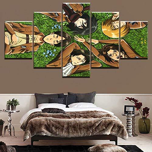 EIGYU 5 Partes pósterMovimiento de Dibujos Animados gigantede Panel impresionesinteriores de paredfondo del Dormitorio-with Frame-110x60Cm