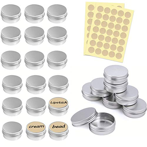 Iindes 25 pezzi Barattolo vuoto in alluminio (con adesivo rotondo da 2 pezzi), Crema, Unguenti, Mini Candele, Cosmetici, Tappo a vite (Argento)