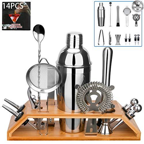 Set of 2Pcs Plastic Cocktail Shaker,Drink Mixer Tea Shaker with 2Pcs Measuring Jigger,Professional Bar Tools 24oz//700cc
