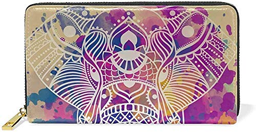 Bolso de mano de piel con cremallera y tarjetero, estilo étnico, azteca, elefante, piel auténtica, cierre de cremallera, gran bolsa de viaje One_color. Talla única
