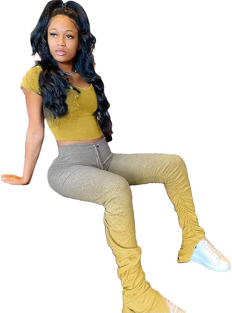 2 Pc Sweatsuits Crop Tops Sweatpants Sportwear DINGANG Womens Two Piece Pant Sets