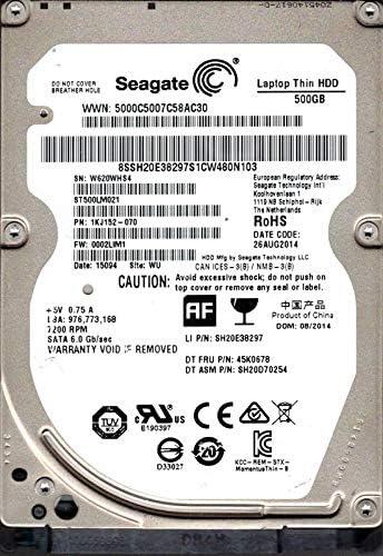 ST500LM021 P/N: 1KJ152-070 F/W: 0002LIM1 WU W62 Seagate 500GB