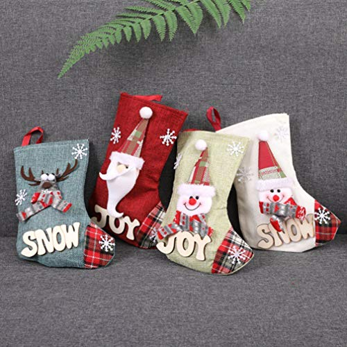 Topanke Calza di Natale Set 4 Pezzi Calza Natalizia per Le Caramelle, Babbo Natale Pupazzo di Neve e Elk Calze Natalizie da Appendere Candy Sacchetti Regalo per Festa di Natale Decorazioni