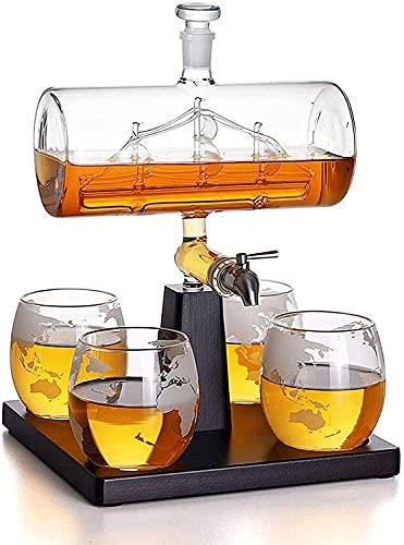 Ghongrm Decantador de Whisky con Buque Antiguo - Whiskey Ship Decanter Set con 4 Gafas de Whisky Grabado, Base de Madera Maciza y Grifo de Acero Inoxidable para Licor o espíritus 1000ml