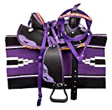 HR, International Youth Child Synthetic Western Pony Miniature Horse Saddle Tack Get Matching Headstall, Breast Collar & Saddle Pad Size 13' Inches Seat