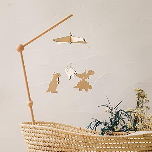 Mamimami Home Babybett Mobile Windspiel Rassel Spielzeug mit Mobile Halter aus Holz Neugeborenen Kinderzimmer hängende Bettglocke Holz Ornament Geschenk für Baby Mädchen oder Jungen