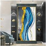 cuadros decoracion salon Versión vertical pintura al óleo abstracta brisa marina nórdico americano moderno minimalista sala de estar sofá fondo pared pasillo verti 23.6x62.9in (60x160cm) x1pcs sin ma