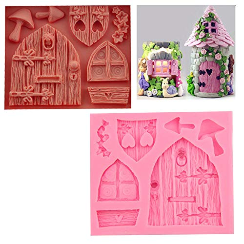 BYBYCD 3D Silicone Fondant Mold Fairy House Door Baking Mold Cake Decorating Tools Chocolate Mold
