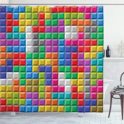 ABAKUHAUS Videojuegos Cortina de Baño, Arte Colorido Bloques, Material Resistente al Agua Durable Estampa Digital, 175 x 240 cm, Multicolor