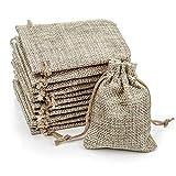 RUBY - 100 Bolsitas Saco de Yute 8.5cm x 6.5cm para Regalo joyeria, bolsita para Regalo de Tela de arpillera, Bodas, comuniones, Saco Navidad, reuniones, artesanía de Bricolaje (8.5 x 6.5cm/100pcs)