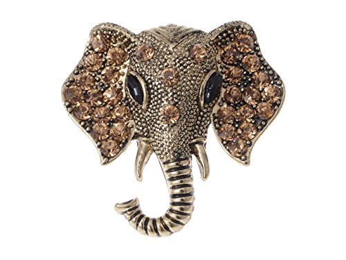 Alilang Bronze Tone Handsome Oriental Elephant Brooch With Intriguing Brown Stones
