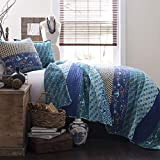 Lush Decor C12765P13-000 Royal Empire Quilt Striped Pattern Reversible 3 Piece Bedding Set, Full/Queen, Peacock