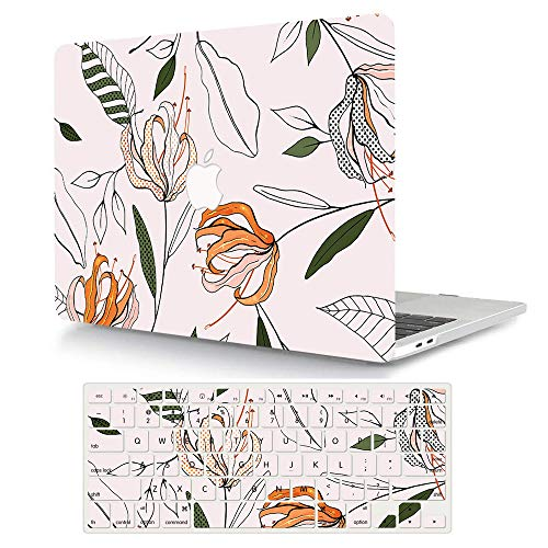 MacBook Air 11 inch Case Model A1370/A1465, AJYX Pattern Plastic Hard Shell Case Protective Cover & Keyboard Cover Skin Compatible MacBook Air 11.6'' - Flower