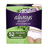 Always Discreet Incontinence & Postpartum Underwear for Women, X-Large, 52 Count, Maximum Protection, Disposable (26 Count, Pack of 2 - 52 Count Total),Package may vary