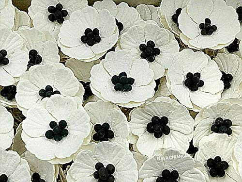 NAVA CHIANGMAI Poppies Mulberry Paper Flower (No Wire stem) Craft Mulberry Paper Flowers, Decorative Flowers for Crafts. (White)
