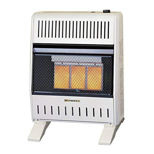 ProCom MNSD3TPA-BB Dual Fuel Ventless Infrared Gas Space Heater, 20,000 BTU, White
