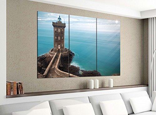 Acrylglasbilder 3 Teilig 120x100cm lighthouse Leuchtturm Licht Meer Burg Stein Druck Acrylbild Acrylglas Acrylbilder Wand Bild 14E1301, Acrylgröße 8:gesamt 120x100cm