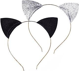 Frcolor 2pcs Glitter gatto orecchie fasce dell'orecchio capelli Hoops fermagli per partito e tutti i giorni indossando (ar...