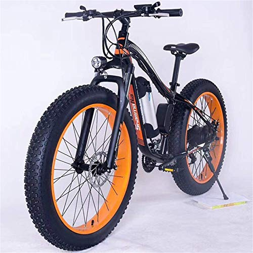 Leifeng Tower Alta Velocidad 26' Montaña de Bicicleta eléctrica de 36V 350W 10.4Ah extraíble de Iones de Litio Fat Tire Bike Nieve de Deportes Ciclismo Viajes Tráfico (Color : Black Orange)