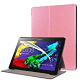 Zrengp for Lenovo Tab2 10.1 A10-30F A10-30N A10-30L TB-X103F Smart Cover, Ultra Slim Folio Stand Leather Case for Lenovo Tab 2 10 X30F X30M X30N 10.1 inch Tablet (Pink)