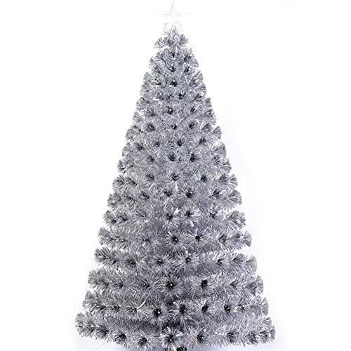 K.LSX Albero di Natale Artificiale, Prelit Fibra Ottica Albero di Natale con Clear Mini Luci per l'inverno Alberi di Natale Decorazione-Argento