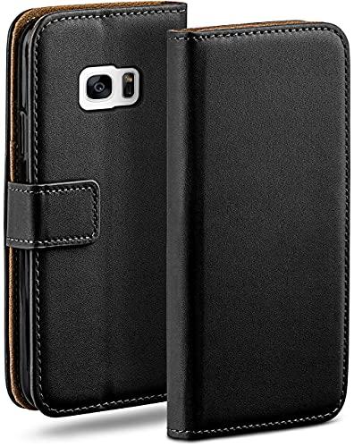 moex Klapphülle kompatibel mit Samsung Galaxy S7 Hülle klappbar, Handyhülle mit Kartenfach, 360 Grad Flip Hülle, Vegan Leder Handytasche, Schwarz
