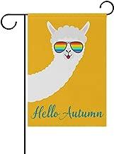 NASEN Garden Flag Hello Autumn Alpaca Llama Animal Face Modern Outdoor Decorations Home Welcome Decorative Double Sided Yard 12x18 Inches Festive