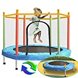 SZBOB Trampoline for Kids with Safety Enclosure Net - Indoor Outdoor Kids Trampoline for Toddlers, 55 in/4.6 ft Small Trampoline Baby Trampolines Round Jumping Table Mat Capacity 110lbs Kid Trampoline