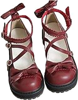 [サユム] レディース パンプス ロリータシューズ フラットシューズ あつぞこくつ ドールシューズ 可愛い 蝶結び 日系 学生 ラウンド先 革靴 少女