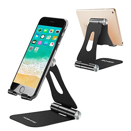 YOSHINE - Supporto per Telefono, Regolabile, Portatile, Pieghevole, per Cellulare o Tablet, da Tavolo - Nero
