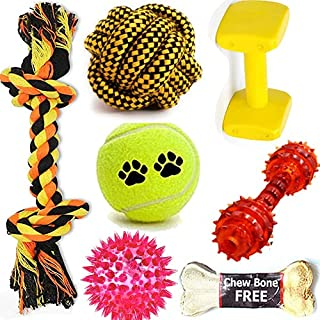 BLACK DOG Attractive Cotton Poly Mix Chew Dog Toys for Teething Suitable Small and Medium Puppies + Tennis ball Toy + Cott...