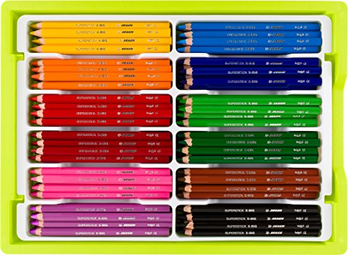 Jolly X-Big Premium Jumbo Colored Pencils with Stackable Storage Box; 180 Pcs (15 each of 12 primary colors), Perfect for Group Projects, Classrooms, Special Needs, Art Therapy, Pre-School