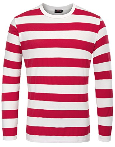PAUL JONES Men's Red and White Striped Shirt Long Sleeve Crew Neck T-Shirt,Red (Wide Stripe),Medium