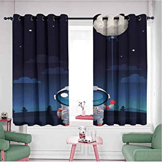 Mannwarehouse Blackout Curtains, Assorted Sizes & Colors Space Astronaut in Spacesuit Holding a Moon Shaped Balloon in His Hand Print Indigo and Light Grey