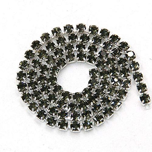AUBERSIT 5 Yardas/Bolsa, Base, Cadena de Copa de Diamantes de imitación de Cristal Gris, Ropa de Bricolaje, Accesorios para Vestidos de Novia, Gris, SS8 2,5mm